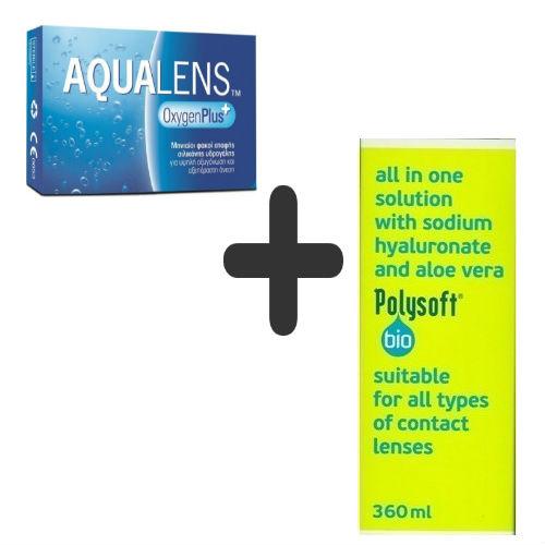AquaLens Oxygen Plus Μυωπίας-Υπερμετρωπίας 3pack + Polysoft 360ml ... 15c04b9431d