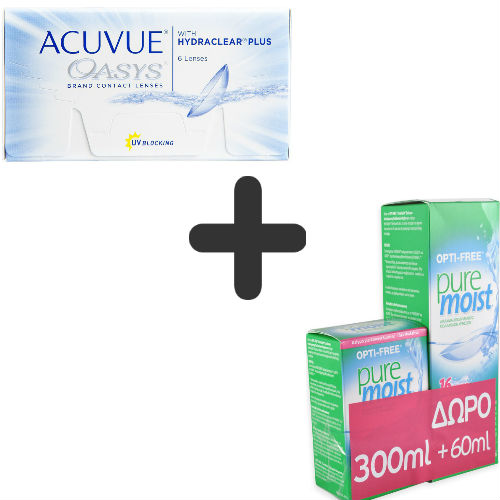 Acuvue Oasys 6pack Μυωπίας-Υπερμετρωπίας Δεκαπενθήμεροι + Opti-Free 300ml+60ml ΔΩΡΟ