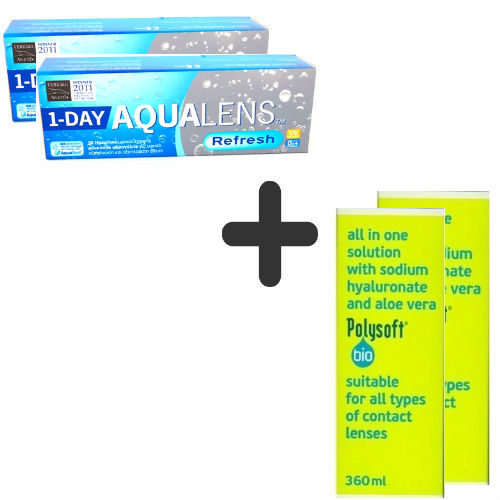 AquaLens Refresh 1-day (2 κουτιά) + 2 Aquasoft 380ml